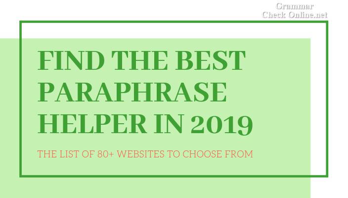 best paraphrase helper in 2019